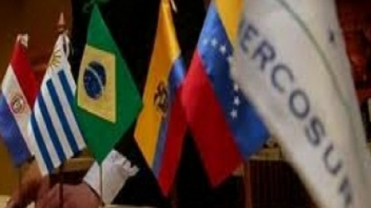 The Paraguayan flag is seen next to other members of the Mercosur during the XLIII Mercosur presidential summit in Mendoza, 1050 Km west of Buenos Aires, Argentina on June 29, 2012. AFP PHOTO / Juan Mabromata